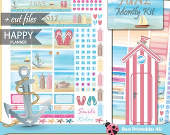 June monthly kit/Happy Planner Monthly Kit/MAMBI Happy Planner Kit/June Planner Stickers Printable/Monthly Planner Kit/cutfiles HP-03