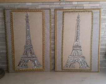 Sparkeling Eiffel Towers on canvas