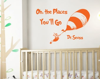 Dr Seuss Quotes Oh The Places Youll Go Wall Decals - Dr seuss nursery wall decals