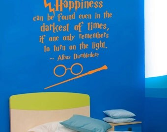 Harry Potter Wall Decal Quote Happiness Can Be Found Even Hogwarts Wall Decal Harry Potter Vinyl Sticker Nursery Teens Room Kids Decor ET020