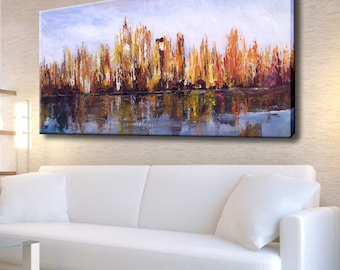 Acrylic Painting, Canvas Abstract City, Abstract art, Abstract room decor, Landscape Painting, Cityscape, City art, Palette Knife Cityscape