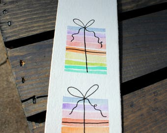 Watercolor Bookmark - Presents