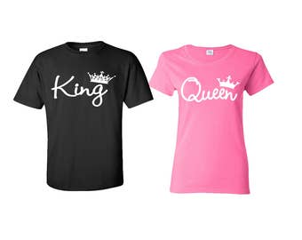 King Queen T Shirts King Queen Raglan Shirts King Hoodie Queen Hoodie Couple Hoodies pärchen pullover Couple Hooded Gift For Couple BlackRed