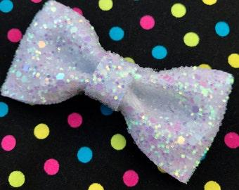 Iridescent White Glitter Hair Bow