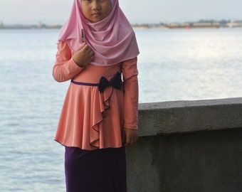 Lily Dress (Peach and Purple)