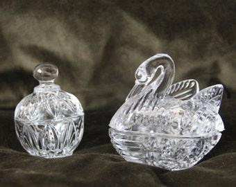 Vintage Crystal Sugar& Cream—Ornate Glass-Patterned-Cut
