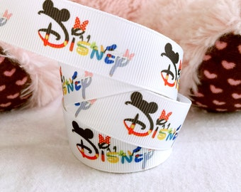 "3 yards 7/8"" Disney ribbon, Disney logo ribbon, Mickey ribbon, hair bow ribbon, Disney hair bow ribbon, Disney grosgrain ribbon, ribbon"
