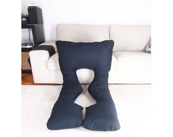 Black Breastfeeding and Pregnancy Pillow Full Body Pillow COVER Baby Shower Gift