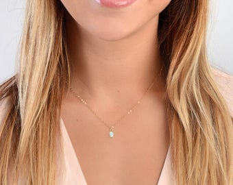 Opal Necklace, Opal Jewelry, Dainty Opal, White Opal Necklace, Tiny Opal, Gemstone Necklace, Bridesmaid Necklace, Gold Fill