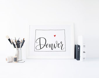 Colorado Print - State Print - Hand Lettered Print - Colorado - Custom State Print - Personalized State Print - Custom State Sign - Sign
