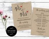 Printable Wedding Program Template Mr  Mrs  Printable Mr. and Mrs. Wedding program  Modern Red Heart  Downloadable wedding WDH0133