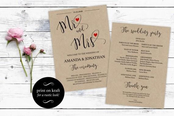 Printable Wedding Program Template Mr & Mrs - Printable Mr. and Mrs. Wedding program - Modern Red Heart - Downloadable wedding #WDH0133