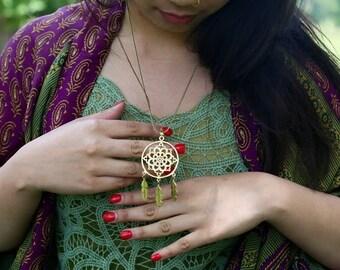 Lotus Dream Catcher Pendant - Wanderlust, freedom, spirit, yogi, yoga, soul, meditation, festival, festive.