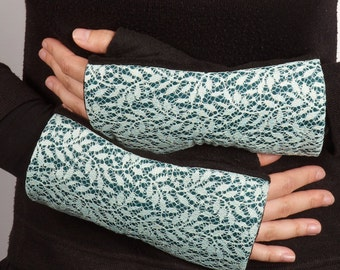 Romantic mittens, gloves for woman, mittens with polar fleece, mittens with blue lace, elegant gloves, gloves for woman, gift for woman