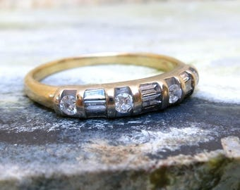 14k Gold and Diamond Art Deco Ring, Antique Stacking Ring, Vintage Diamond Wedding Band