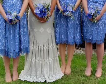 Bespoke Vintage Style Lace Bridesmaids Dresses In Cornflower Blue Lace