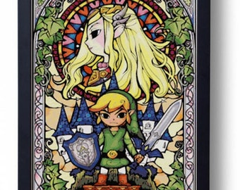 The Legend of Zelda - Link and Zelda Stained Glass The Wind Waker (Cross stitch embroidery pattern pdf)