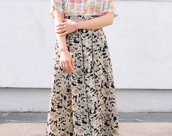 Green and black floral skirt / Japanese vintage skirt / Skirts with pockets / Pleated skirt / Maxi skirt / Long skirt / Size medium