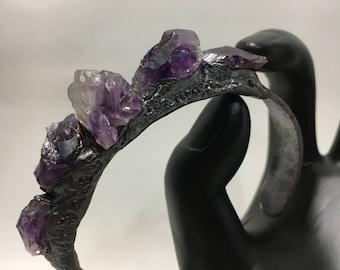 Mists of Violet Bracelet - Amethyst Cuff electroformed wrap strega boho pagan magic crystals witch jewelry fantasy creative goddess psychic
