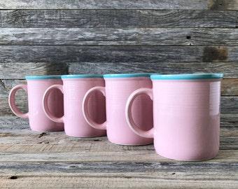 Set of 4 Vintage RIO Pink Stoneware Mugs, Pink Stoneware Coffee Mugs
