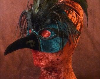 Dark Emerald Bird mask, feathered half mask, maskquerade mask, FREE SHIPPING