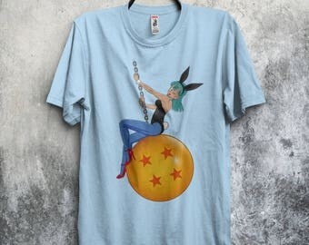 Bunny Ball T-shirt / Bulma Bunny Costume / Wrecking ball / Miley Cyrus Parody / Anime & Manga/ Free Shipping worldwide/