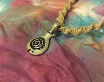 Handmade Macrame Necklace With Aged Metal Fish Pendant