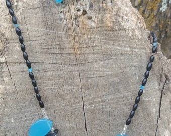 Blue and Black Necklace and Earring Set