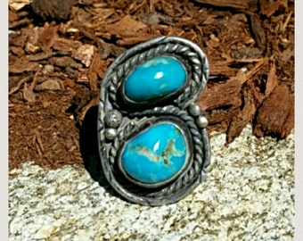 Vintage Native American Indian Sterling Silver Ring Size 7 3/4