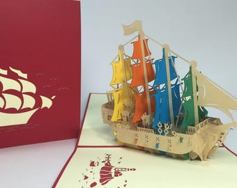 Colorful Sailing Ship - Pop Up Ship Birthday Card - Pop Up Father's Day Card - Get Well Card - Safe Trip Card - Ship Congratulations Card
