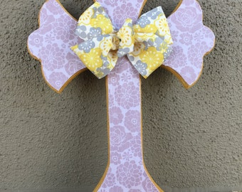 Mustard and Rose Wooden Cross