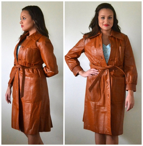 Rustic Sophisticate Coat | vintage 70's brown leather trench coat