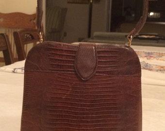 SALE: Vintage Brown Lizard Handbag - LOWER PRICE
