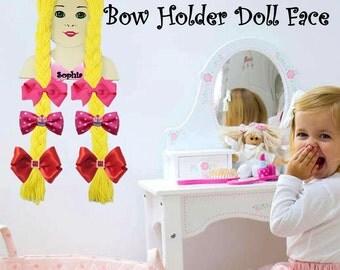 Bow Holder. Girl Doll Bow Holder. Customize Girl Name or Phrase. Handmade.