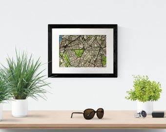 Paper cut street map of London. Original art, custom map gift idea. London map of SW4: Clapham, Stockwell, Brixton, Battersea.