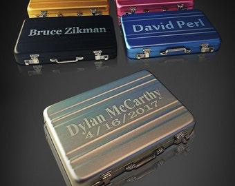 Business card holder custom engraved - Personalized business card holder - Mini briefcase laser engraved card holder - Special gift