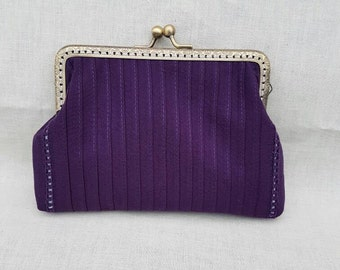 Handmade Purple Kiss Clasp Clutch Bag/Evening Clutch Bag/Prom Bag/Purse.
