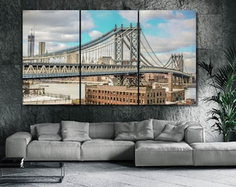 Manhattan Bridge Art, Cityscape Art Canvas Print, New York Skyline Wall Art, New York Wall Print, Grey Large Canvas Print, Home Decor LC012