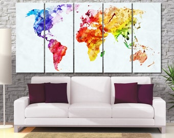 Extra Large Watercolor Map Canvas Print, Geometric World Map, Worldmap Poster, Colorful World Map, World Map Artwork, Framed Push Pin Map