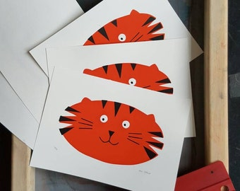 Tiger Screenprint - Hand Printed, Limited Run (18) - Unframed - Nursery or Child's Room Art Decor