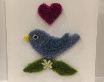 Needle felted card. With Love greetings card.