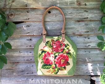 Needlepoint, bag, vintage, leather, handbag, shoulder bag