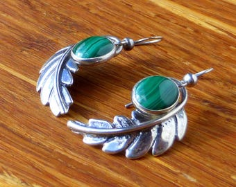 Sterling Silver and Malachite and Feather Earrings