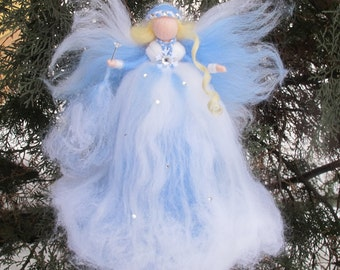 Fairy felt winter,Fairy magic winter,Ornament fairy winter,Fairy needle felted,Waldorf doll felt,Gift for girl
