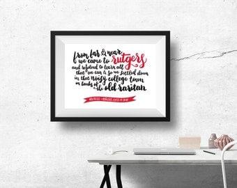 Rutgers University Print with Custom Digital Calligraphy