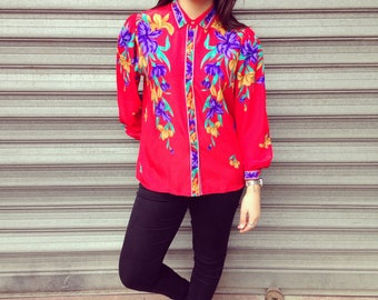 90s Vintage Bright Red flowery Shirt/Blouse