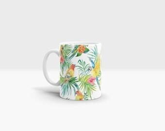 Tropical Birds Mug. 11oz Ceramic Mug.