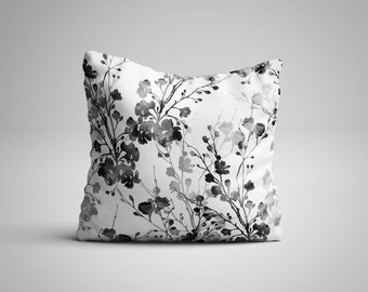 Black and White Flowers Cushion.