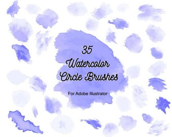 35 Watercolor Circle Brushes for Adobe Illustrator