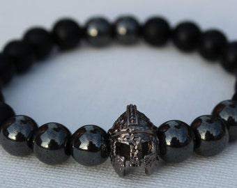 Black and Hematite Spartan Helmet Bracelet